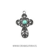 Colgante cruz ornamentos y aplique turquesa centro R39726