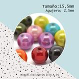 Abalorio acrílico simil perla mediana colores surtidos 15,5mm (49-50 unidades aprox.) C81