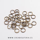 Anillas bronce antiguo 5 mm de diámetro hipoalergénicas grosor 0,7mm  A5mm