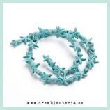 Abalorio  Howlita sintética estrella de mar azul turquesa  - 39/40 unidades