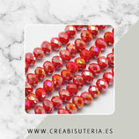 Abalorios -  Cristal facetado  4x3mm color rojo efecto plateado P04811 (135 piezas)