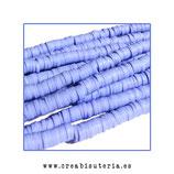 Abalorio arcilla Katsuki polimérica redondo plano 40cm  6mm (330 unidades apro) azul lavanda claro
