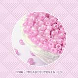 Abalorios -  Cristal de colores rocalla  rosa aperlada  40gr O11151