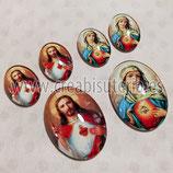 Cabuchón Cristal Religión - Sagrado corazón de María & Sagrado Corazón de Jesús 30x40+18x25 dos conjuntos