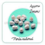 Abalorio Perla natural irregular agujero 2mm  (10 unidades)