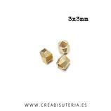Entrepieza dorada - DO1- X - latón -facetada 3mm mini dorado P738 (20 unidades)