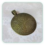 Colgante Mandala flores y puntos bronce viejo COLOOO-R15405b