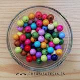 Abalorio acrílico opaco  colores variados 10mm (Aproximádamente 100 abalorios) C76