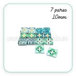 LOTE ÚNICO - Azulejos 10mm coloridos azules y verdes  (7 pares) 71A