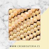 Abalorios -  Cristal facetado  4mm color beis aperlado electrochapado  P13009 (100 piezas)