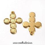 Colgante Espiritual -   Cruz dorada con 6 huecos para aplique de 5mm P012 (4 unidades)