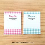 Soportes de cartón PERSONALIZADOS para detalle de evento +  bolsa de plástico con autocierre . (10unidades) MODELO VICHY