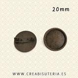 Broche camafeo 20mm bronce viejo cuerda R79
