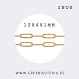 INOX - Cadena eslabón grande redondeado fino  dorado INOX 12mm (1 metro) P51Z