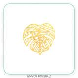 Hoja tropical filigrana ancha lacada en dorado K040 (2 unidades)