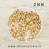 Abalorios -  Cristal de colores, rocalla 2mm  - electrochapada dorada  20gr R003-2mm