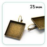 Pendiente camafeo cuadrado recto 25mm bronce viejo clip