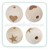 Madera abalorio bola madera natural Modelo estrella/ corazón 19mm  (2 bolas de cada)