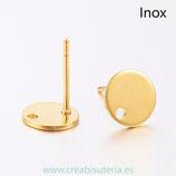INOX - Pendiente base redonda  pequeña agujerito Acero Inoxidable  DORADO  P46G  (5 pares)