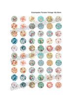 60 imágenes estampados florales vintage III 18x18mm