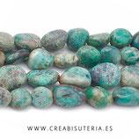Abalorio piedra natural irregular turquesa 38cm aprox. P31