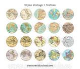Lámina 20 imágenes mapas vintage 30x30mm