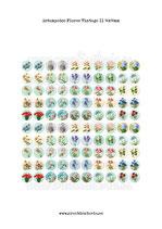 100 Imágenes estampados Flores Vintage II 14x14mm