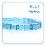 Abalorio cristal cuadrado azul  4x4mm ( tira de 69 abalorios aprox) ABAL-Cristal C31088