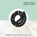 Abalorio cristal redondo mini negro3x3mm ABAL-Cristal P27 ( tira de 110 abalorios aprox)