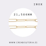 INOX - Cadena eslabón grande redondeado fino  dorado INOX 21,56mm (1 metro) P52K