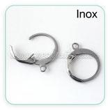 INOX - Gancho pendiente  clip cerrado redondito ACERO INOX   PR065 (10 pares)