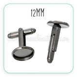 Gemelos 12 mm de cabuchón -  negros  GEM-C46692