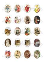 20 Imágenes de gatos Vintage I 30x40mm