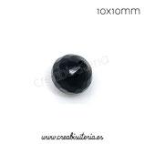 Abalorios -  Cristal facetado  10x10mm color negro C04675 (49 unidades)