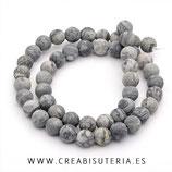 Abalorios Piedra Jaspe Picasso gris  PJaspeGris001
