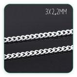 Cadena sencilla eslabón enlazado plateado (10 metros) ANTIALERGICA CADMET-C13656