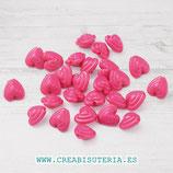 Bolsita 100 corazones acrílicos vintage color fucsia (100 piezas) P2704