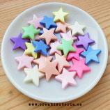 Bolsita 50 estrellas acrílicas colores mixtos opacos 22mm P3707
