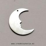 INOX - PLATEADO - colgante cara de luna perfil - P74