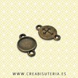 """Conector cabuchón mini 8mm bv """"liso y cruz"""" CON-C10199B  (20 unidades)"""