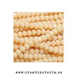 Abalorios -  Cristal facetado  4x3mm color beis P3323