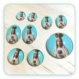 Cabuchón Cristal Religión - Virgen de Fátima fondo turquesa