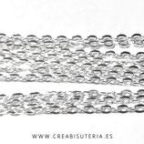 Cadena sencilla plata brillo eslabón pequeño /mediano  sencillo 4x3mm (5m) C753