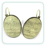 Pendiente camafeo oval bronce antiguo 18x25 (Un par) ACCBAS-C24642