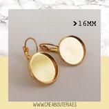 Pendiente camafeo redondo dorado clip 16mm /modelo liso  (10 pares)