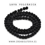 Abalorios lava volcánica  negra Tira