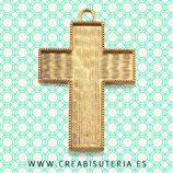 Colgante cruz muy grande con fondo para decorar oro viejo P088 (unidad)