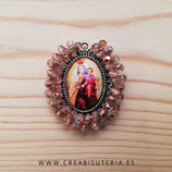 Producto Acabado - Medalla Virgen Del carmen bordada con cristal facetado electrochapado cobrizo