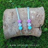 Producto acabado - Cordón para mascarilla cordón escalada azul bebé y 3 flores (azul, turquesa y malva)    CM002