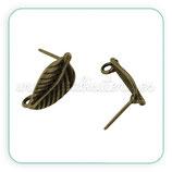 Pendiente base en forma de hoja bronce viejo  ACCBAS-P20159